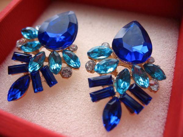 Магазин бижутерии. Серьги для вечеринки синие с доставкой по Украине